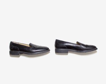 Vintage Leather Loafers 7.5 / Black Leather Loafers / Leather Slip Ons / Spectator Loafers / Black Leather Oxfords