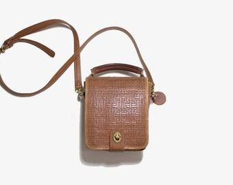 Vintage Leather Satchel / Brown Leather Satchel / Mini Satchel / Structured Leather Purse / Crossbody Purse / Wallet Purse