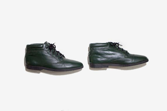 Vintage Ankle Boots 7.5 / Green Leather Boots / Lace Up Boots / Ankle Boots Women
