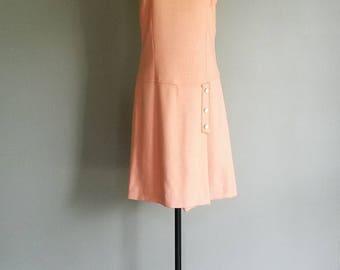 60s Vintage PEACH Scooter Drop Waist Dress (m)