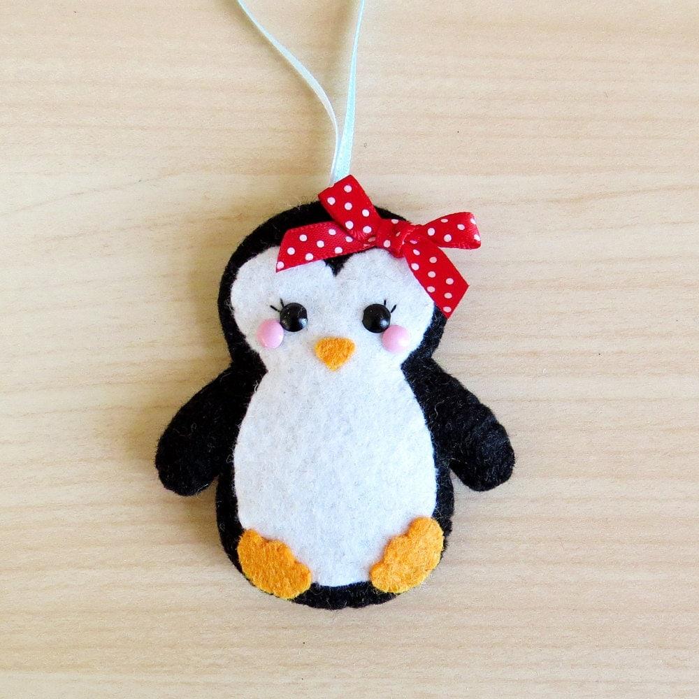 Christmas Tree Shaped Ornaments Are Handmade From 100 Recycled Eco Friendly Felt Hand: Felt Penguin Decoration Hanging Decoration Festive Decor Cute
