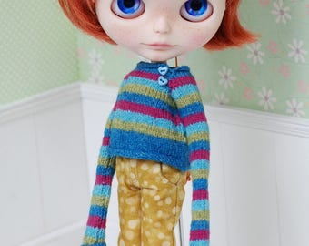 Knitting Cardigan for Blythe Pink Turquoise Green Blue