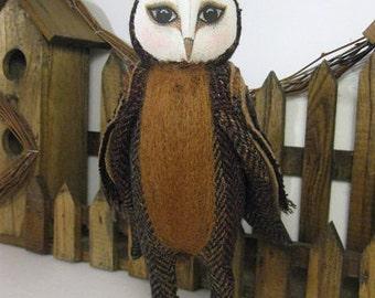 TEXTILE BARN OWL. Barn Owl Doll. Fabric Doll. Owl. Barn Owl. Folk Art Owl. Primitive Owl. Doll
