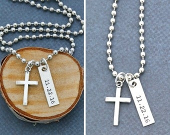 SALE • Mens Cross Necklace • Boys Baptism Gift Idea • Boys Confirmation Gift • Personalized Baptism Date •Silver Cross Jewelry•Mens Necklace