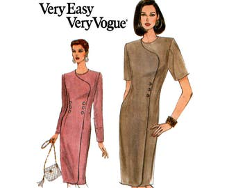 Vogue 8903 90s Mock Wrap Dress Pattern Button Trim Asymmetric Bodice Size 8 10 12 Bust 31 1/2 32 1/2 34 inches UNCUT Factory Folded