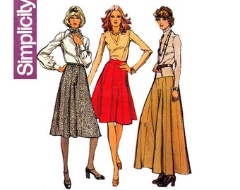 Simplicity 6521 Womens 8 Gore Maxi Midi Skirts 70s Vintage Sewing Pattern Size 10 or 12
