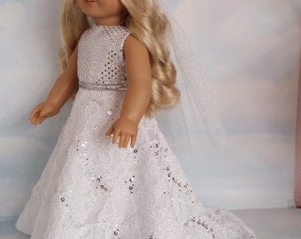18 inch doll clothes -  Sequin and Lace Wedding Gown and Veil - FREE SHIPPING