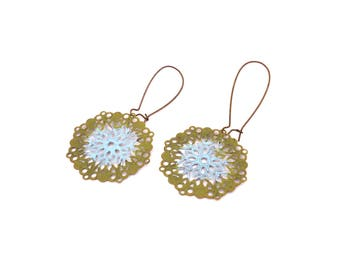 Mandala Earrings - Boho Earrings - Long Ethnic Earrings - Bohemian Earrings - Gypsy Earrings - Lightweight Earrings - Patina Earrings Hippie