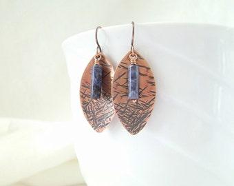 Copper Earrings, Wire Wrapped, Sodalite, Boho Chic, Blue Earrings, Gemstone Jewelry, Handmade Jewelry, Artisan Jewelry, Denim Blue, 1009