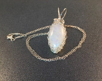 "Rainbow Moonstone Pendant Wrapped in Sterling Silver Wire 1.5"" Long 5/8"" Wide on Optional 18 Inch Sterling Silver Chain, One of a Kind"
