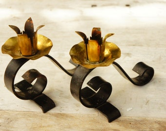 Vintage 50s-60s Brass and Iron Candlestick Holders /Retro/ Mid Century/Bohemian Chic/ Shabby Chic/Hollywood Regency