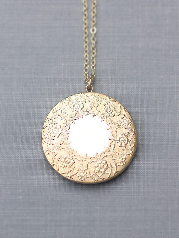 Gold Filled Locket Necklace, Large Round Embossed Photo Pendant with Two Photo Frames Inside - Wreath of Gold