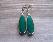 Genuine Emerald Earrings, Bezel Set In 24 K Gold Vermeil, Large Drop Earrings, May Birthstone Jewelry, Long Emerald Tear Drop Earrings