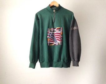 ADIDAS vintage 1994 WORLD Cup us SOCCER vintage Hunter Green sweatshirt size xl men's heather grey sporty athletic wear top