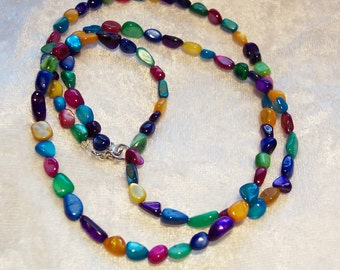 Multi Color Mother of Pearl Necklace, Purple Necklace, Turquoise Necklace, Blue Necklace, Yellow Necklace, Green, Red, Gold Necklace