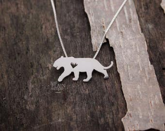 Tiger necklace, tiny sterling silver hand cut pendant with heart