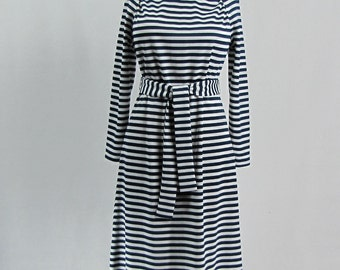 Vintage 1970s Navy Blue and White Striped Maxi Dress