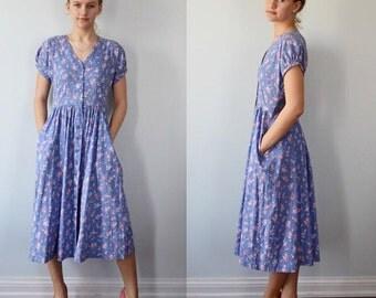 Vintage Cotton Dress, Laura Ashley, Cotton Dress, Periwinkle Blue Floral Dress, Summer Dress, Casual Dress, Cottage Chic Dress
