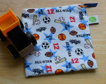 "Reusable Sandwich / Snack Bag - 7.5"" x 7.5""- Certified Food Safe PUL lined, Zippered, Machine Washable, Sports motif"