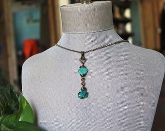 Amazonite Necklace - Wire Wrapped Stone Pendant - Boho Jewelry - Amazonite Jewelry - Green Stone Necklace - Wiccan Necklace - Wicca Jewelry
