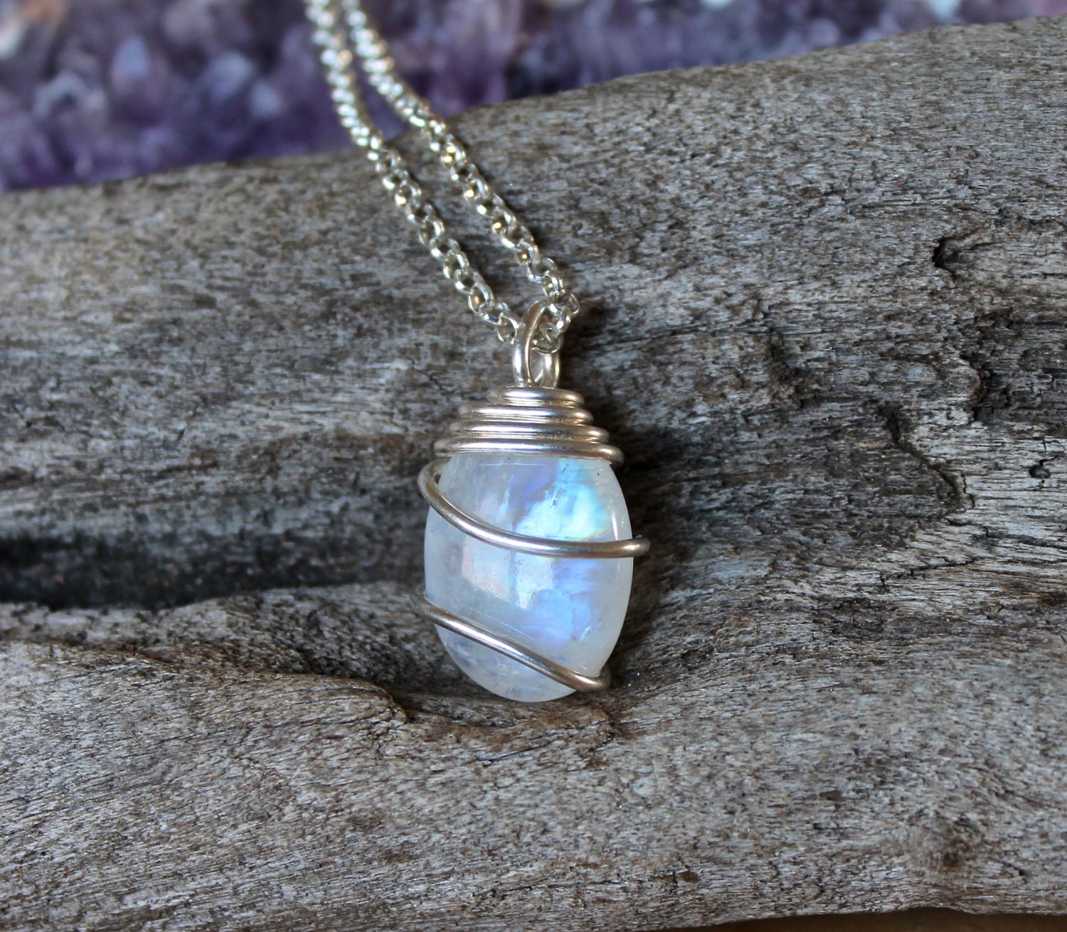 Moonstone Necklaces: Rainbow Moonstone Jewelry Natural Moonstone Necklace Gypsy