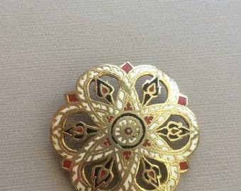 Enamel Brooch Florentine Star Pin