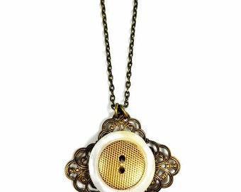 Vintage Button Necklace Pendants, Filigree Necklace, Button Pendant, Gift for Her, Gift For Mother, Upcycled Jewelry
