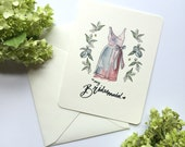 Bridesmaid Thank You Cards - Purple dress - Bridesmaid Cards - Single A2 Card
