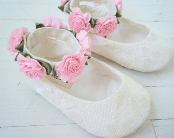 Baby Girl Shoes, Ivory Lace, Christening Shoes By Bobka Baby