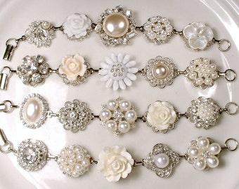 OOAK Ivory & White Pearl Rhinestone Silver Bridal Bridesmaid Bracelet Set 4,5,6,7,8 Vintage Wedding Earring Bracelet Rustic Romantic Gift