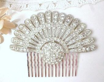 Authentic Art Deco Hair Comb, 1920s Rhinestone Fan Vintage Wedding Dress Clip, Flapper Crystal Bridal Hair Accessory Great Gatsby Hairpiece