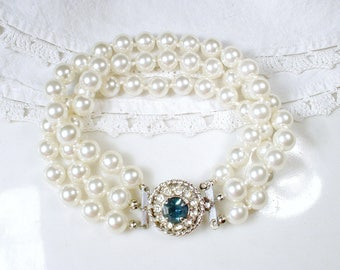 Vintage Ivory Pearl Sapphire Rhinestone Bridal Bracelet, Art Deco Three Strand Glass Ivory Pearl Ornate Pave Clasp Something Blue Old 1950s