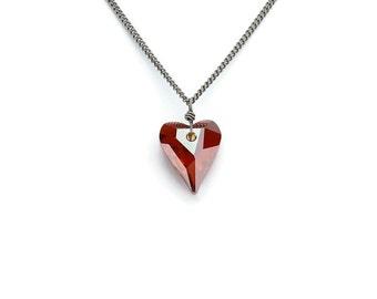 Titanium Necklace Red Heart Swarovski Crystal Pure Titanium Necklace For Sensitive Skin, Niobium Wire Wrapped Crystal Titanium Necklace