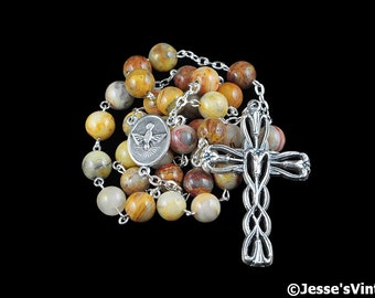 Anglican Rosary Beads Yellow Brown Gray Crazy Lace Agate Natural Stone Prayer Beads Silver Christian Episcopal