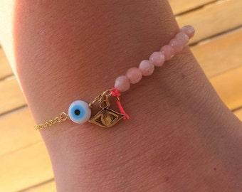 Pink Jade Bracelet with Gold Eye Charm - Evil Eye Beaded Bracelet