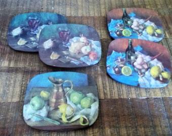 Set of Five Vintage Food Wine Still Life Cork Backed Coasters