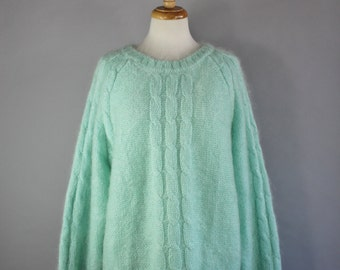 Vintage 90s Women's Mint Green Mohair Blend Oversized Fall Winter Cable Knit Long Pullover Sweater