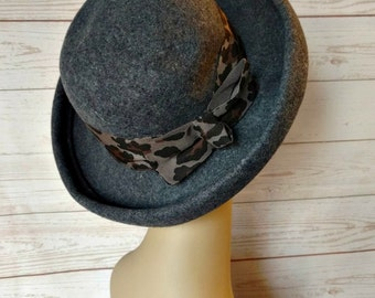 Gray Felt Hat - Grey Felt Hat - Winter Hat - Fall Hat - Leopard Band Hat - Ladies Bowler Hat - Traditional Hat - British Style - Menswear