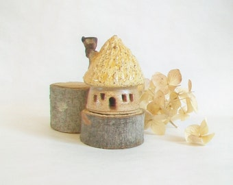 Garden Fairy House - 1 House - Speckled Stoneware - Thatched Roof  with Chimney - Handmade on Potters Wheel - Ready to Ship - Actual House