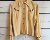Vintage 1940s western shirt • gabardine shirt • 40s blouse