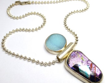 Druzy Hemimorphite Handmade Necklace Sterling Silver Pink Blue Dichroic Glass Lisajoy Sachs One of a Kind Unique Elegant Modern Style