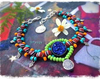 Fairy Magic DRUZY Ankle Bracelet Charm ANKLET Electric Blue Tribal beaded Anklet Boho foot jewelry Festival Fun Summer party Vacation GPyoga