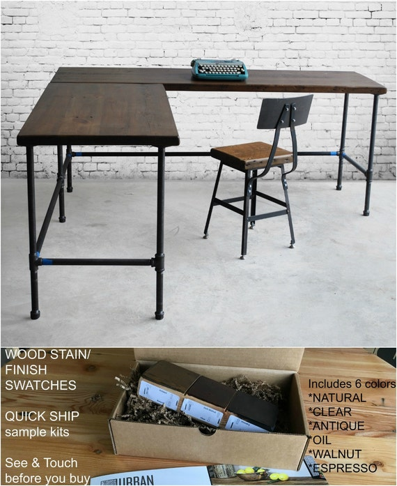 Reclaimed Wood L Desk Office Furniture With Pipe