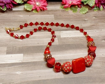 Red Romantic Boho Necklace - Red Necklace - OOAK - Valentines - Statement Necklace