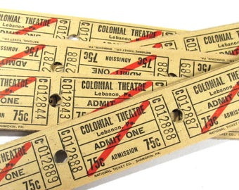 Movie Theater Tickets VINTAGE Theatre Tickets Fifty (50) Tickets Cardboard Vintage Scrapbooking Collage Jewelry Altered Art (M100)