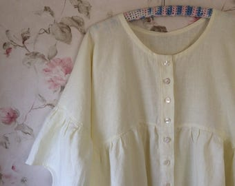 Washed Linen Dress Nightgown Robe Pale Yellow Sweet Prairie Lagenlook Ready Made to order