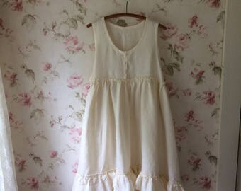 Washed Linen Pinafore Dress Romantic Ruffles Apron Sleeveless Linen Dress Lagenlook Made To order