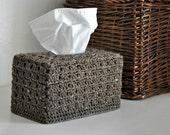 Rustic Brown Tissue Box Cover Nursery Decoration  Home Decor Granny Chic Kleenex Box Cover