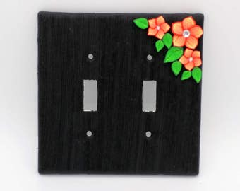 Orange Flower Switchplate; Double Light Switch Cover; Brushstroke Blossom; Polymer Clay Switch Plate; Style #:ORF03