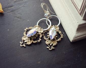Swarovski & Brass Earrings - Silver - Crystal - Rainbow - Fantasy Winter Wedding - Bridal - Holidays - December - Christmas